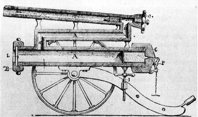 军事  达德利空气炮的结构图,通过下方气筒右侧的无烟发射药爆炸产生