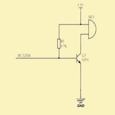 由于上拉电阻r2,buzzer端在输出低电平时,由于电阻r1和r2的分压作用
