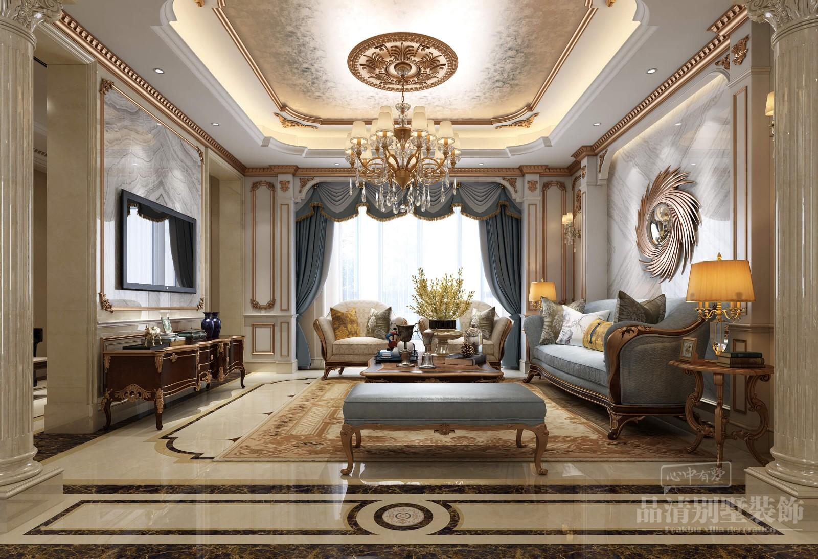 鸿墅联排405m&法式别墅装修风格-客厅布局上突出轴线的对称,恢宏