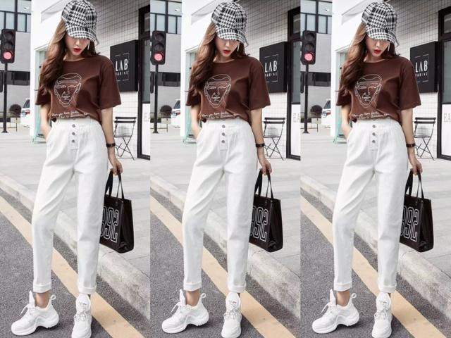 今年最流行的白色休闲裤,配这几件T恤最舒适!
