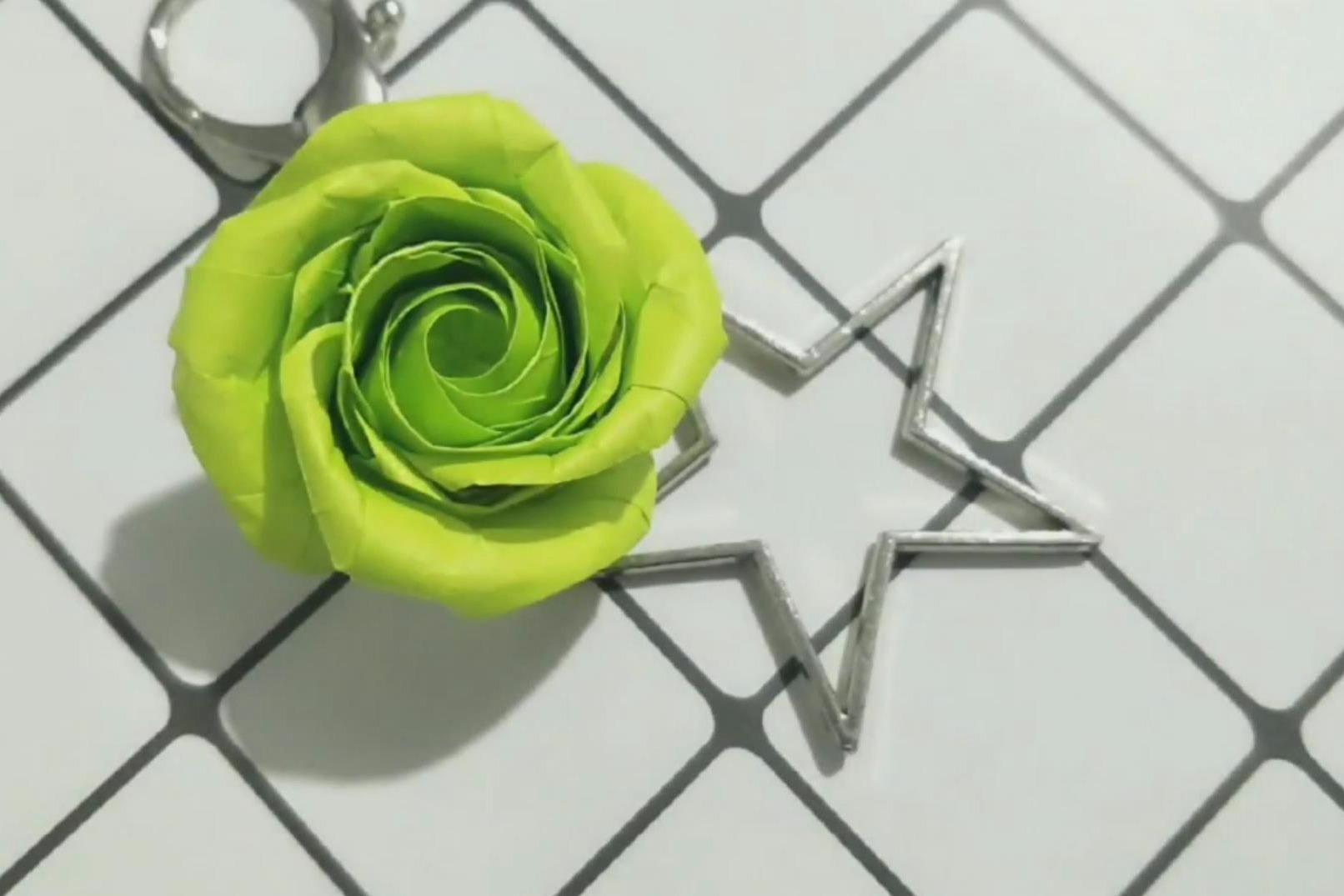 折纸玫瑰花系列教程之折纸玫瑰花,diy手工制作达人必备