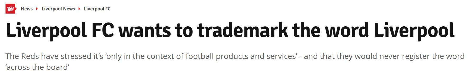 防止假冒产品,利物浦将为利物浦一词注册商标