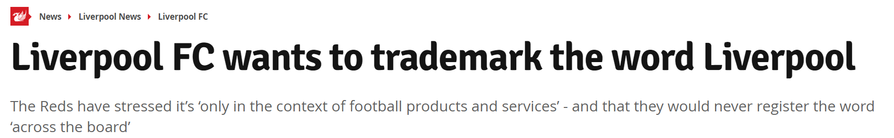 <b>防止假冒产品,利物浦将为利物浦一词注册商标</b>