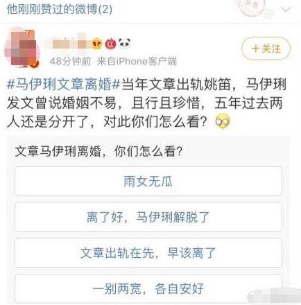 手滑?陈思诚点赞文章马伊琍离婚,网友好奇他投的什么票