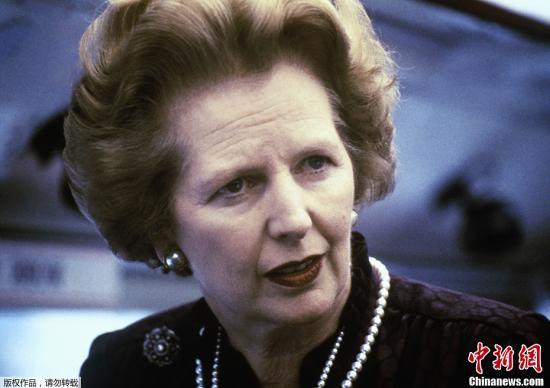 """资料图:英国""""铁娘子""""、前首相撒切尔夫人。"""
