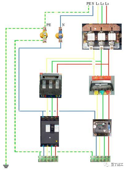 电源进线为三相五线时总配电箱内接线 (箱式变接电时)
