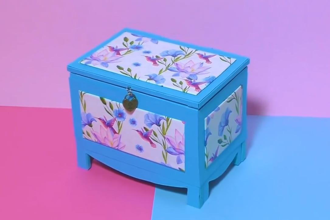 家里的废旧纸板不要扔,教你加工成漂亮的首饰收纳盒,手工diy