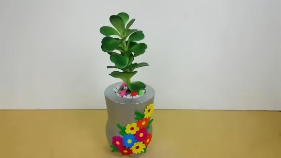 创意生活,教你用废旧塑料瓶和水泥diy一个有趣的花盆!