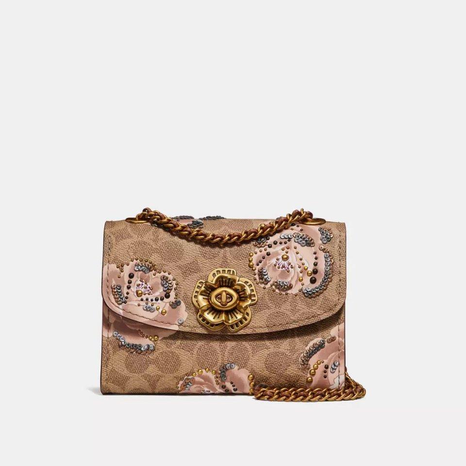 经典标志帆布铆钉和蛇皮细节parker手袋,铆钉边饰和蛇皮细节parker