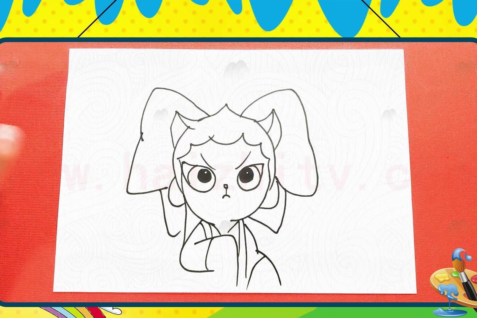 手绘卡通简笔画之画京剧猫中的乘风破浪