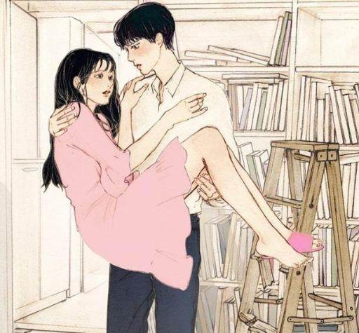 动漫人物简笔画女孩和男孩接吻
