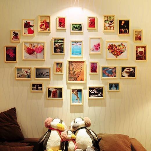 爱心造型的照片墙,浪漫唯美的艺术品.图片