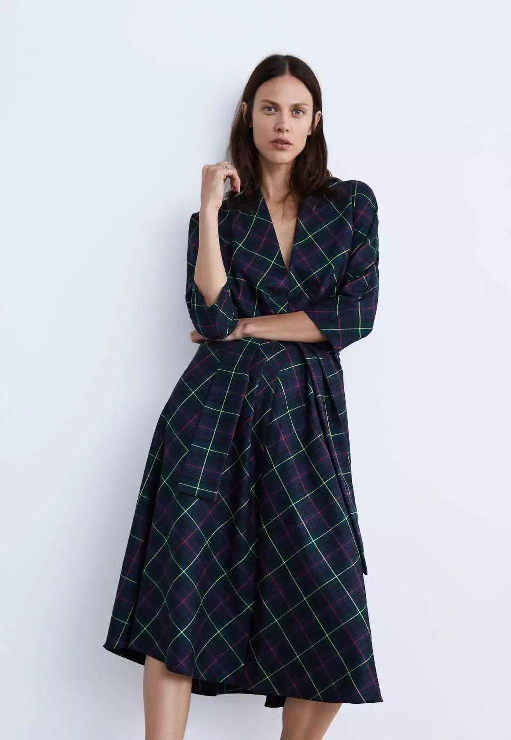 zara格子连衣裙图片