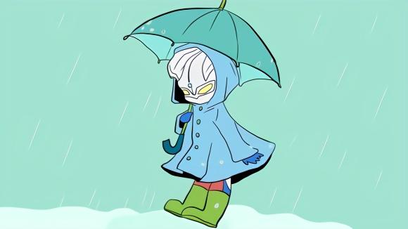 雨天里打伞的赛罗奥特曼儿童卡通简笔画