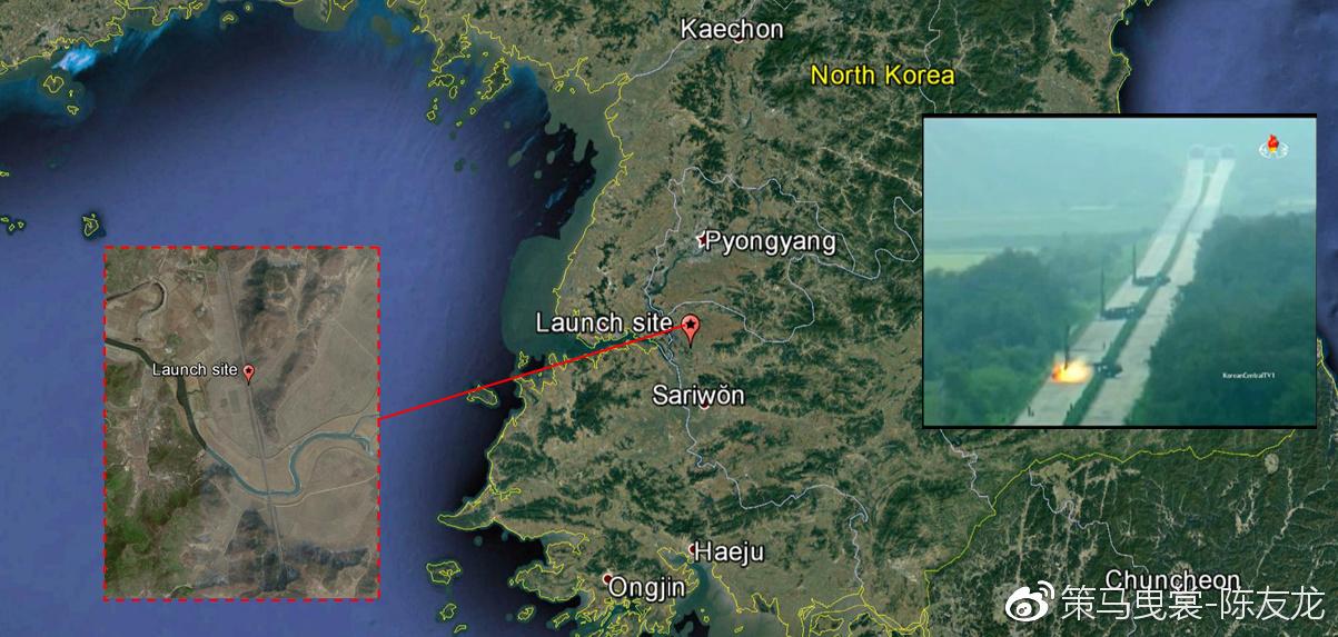 """2016年9月5日朝鲜发射""""火星""""-9 导弹的地点"""