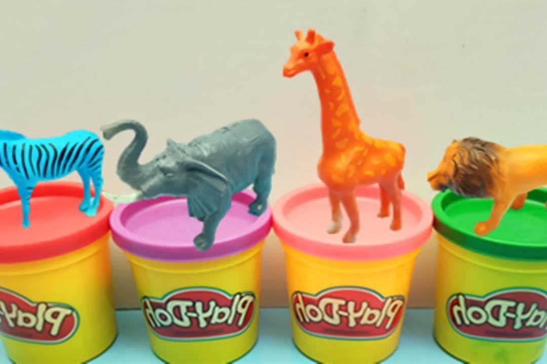 彩泥橡皮泥diy手工动物大象,长颈鹿和斑马
