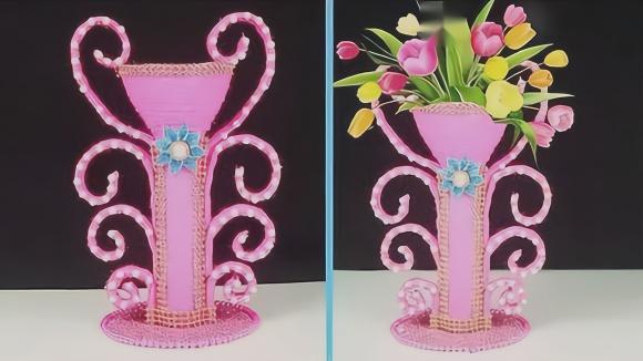 塑料瓶别随便丢了,手工制作成漂亮的花瓶,邻居都夸好看