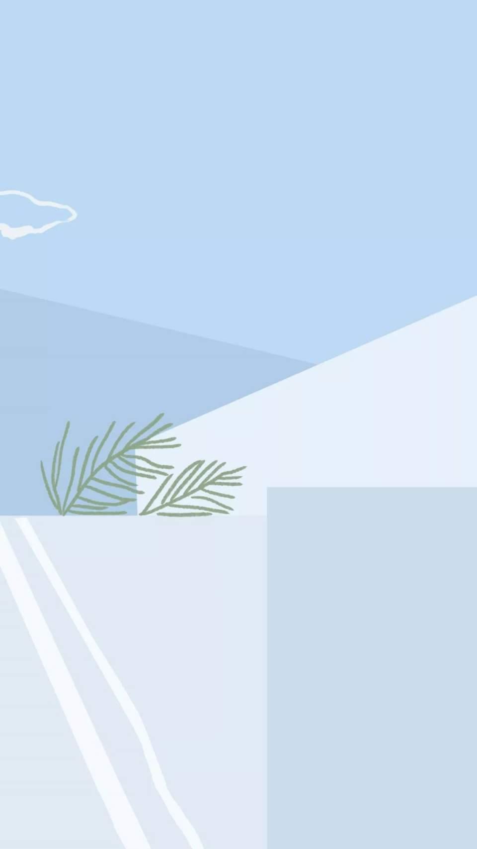 壁纸  蓝色手绘壁纸,治愈人心的力量