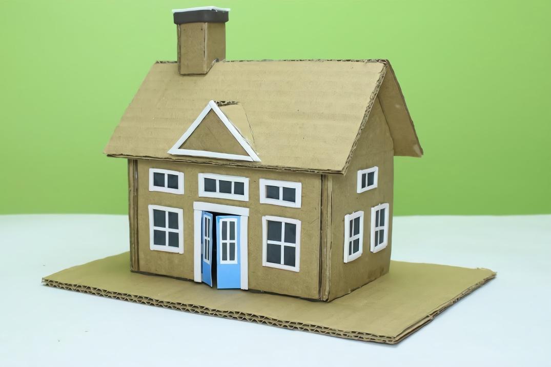 教你用废旧纸板做迷你小房子,做法很简单,创意手工diy