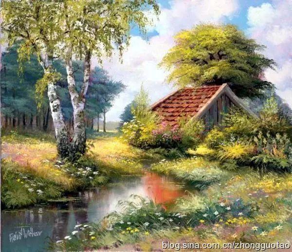 荷兰风景画家reint·withaar的油画《梦幻田园》作品