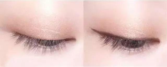 step  :用棕色眼线笔画一条细细的上眼线,在眼尾位置微微加粗并延长.