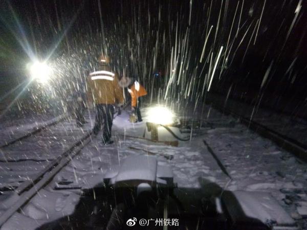 受湖南地区雨雪凝冻天气影响 广州南多趟高铁停运