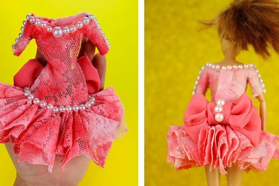 教你给芭比娃娃做漂亮的裙子,做法简单有创意,手工diy教程