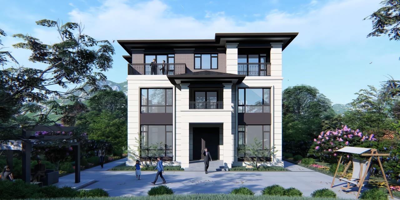 杭州農村三層現代大屋頂別墅,大玻璃落地窗,超爽!