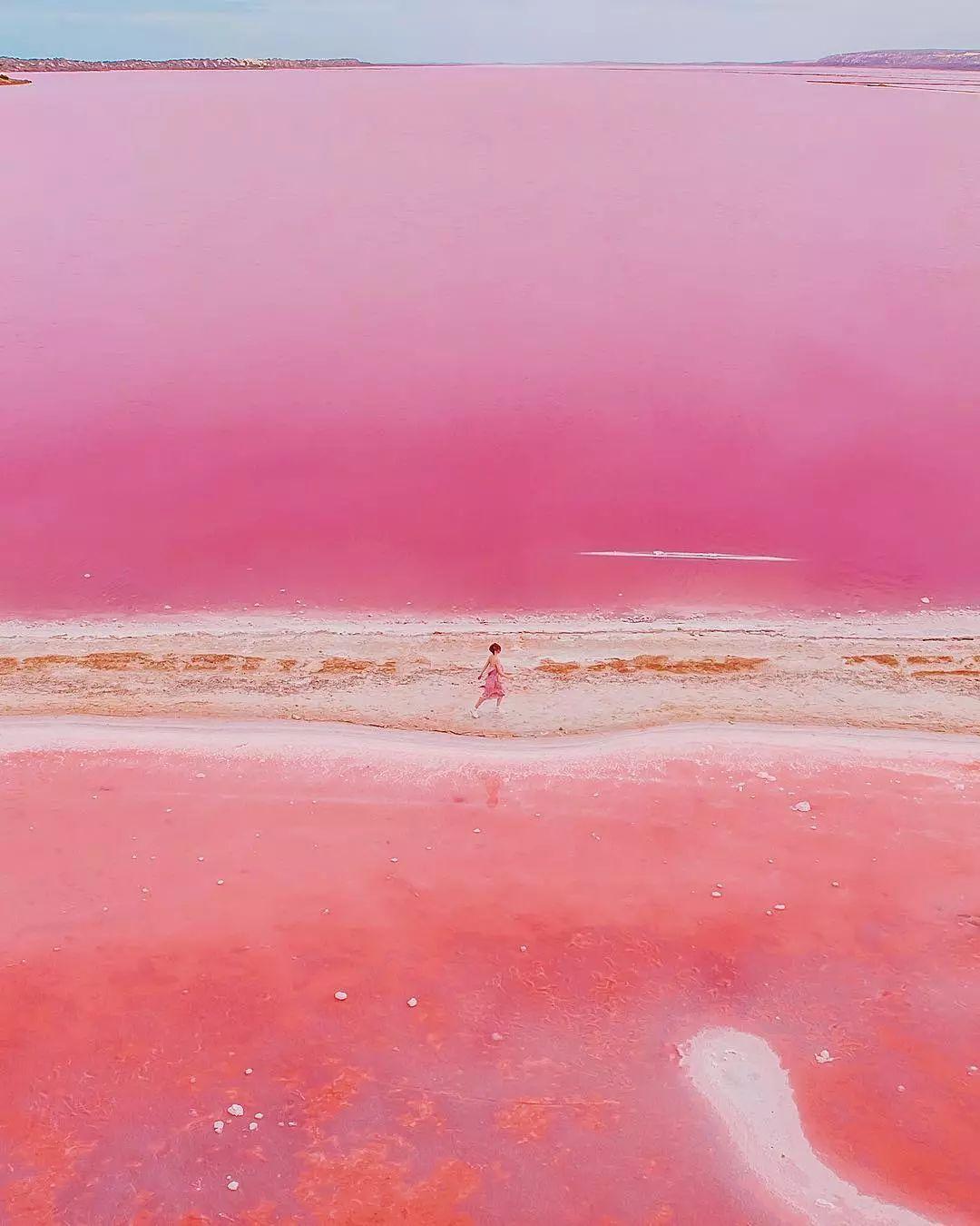 让模特在澳大利亚杳无人烟的粉色海滩漫步,柔和的画面像一幅粉彩画.