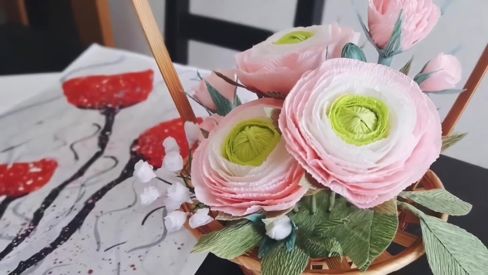 折纸教程,手把手教你用皱纹纸diy毛茛花,简单易学!