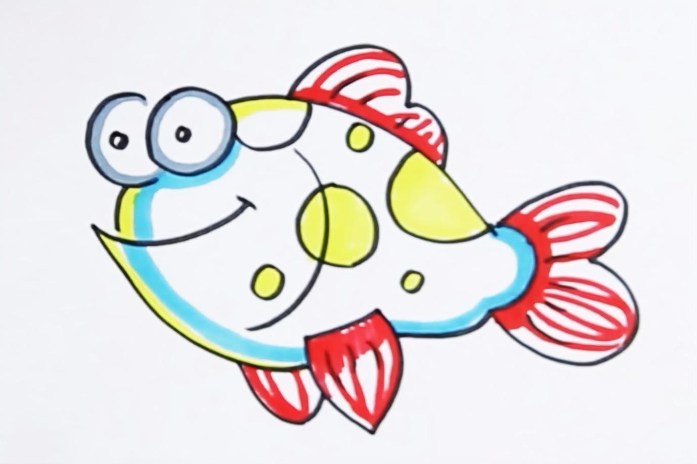 亲子育儿简笔画,可爱的小鱼,小朋友一起画一画