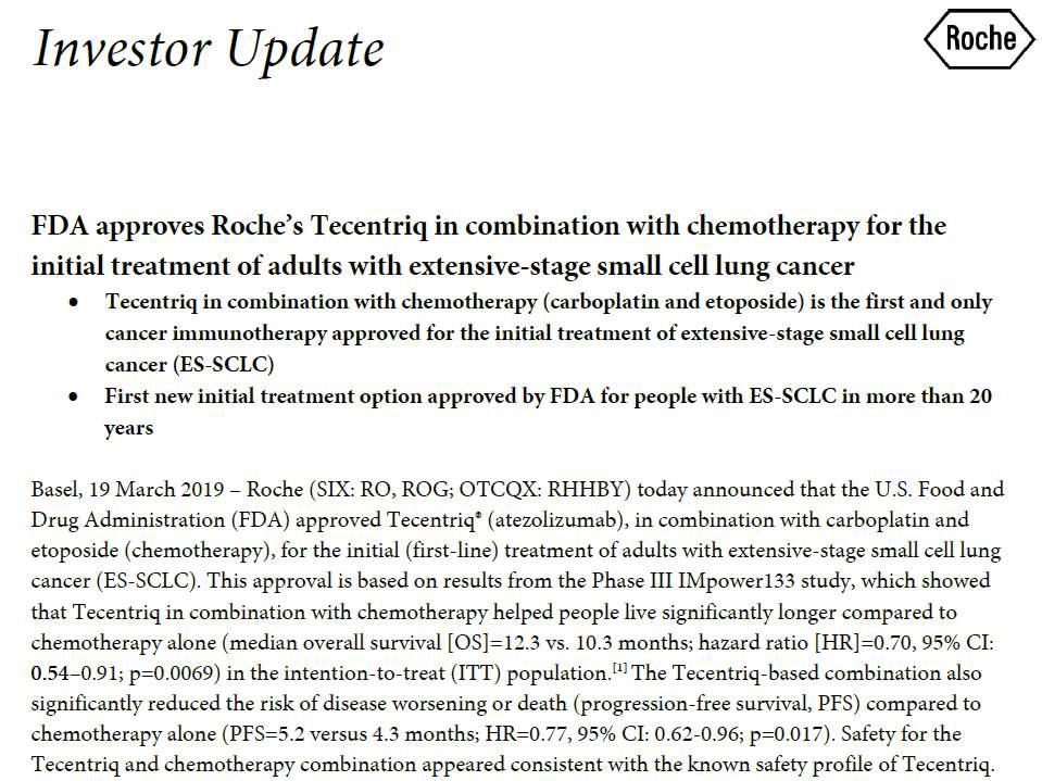 首个一线小细胞肺癌免疫疗法获批,PD-L1联合化疗下降逝世危险30%