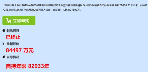东莞一商住地无人竞拍情况下 从8000万拍至30亿