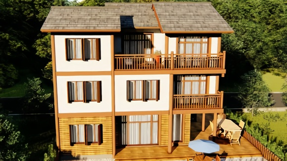 双露台双阳台,室内中庭室外平台,农村自建房就建新中式