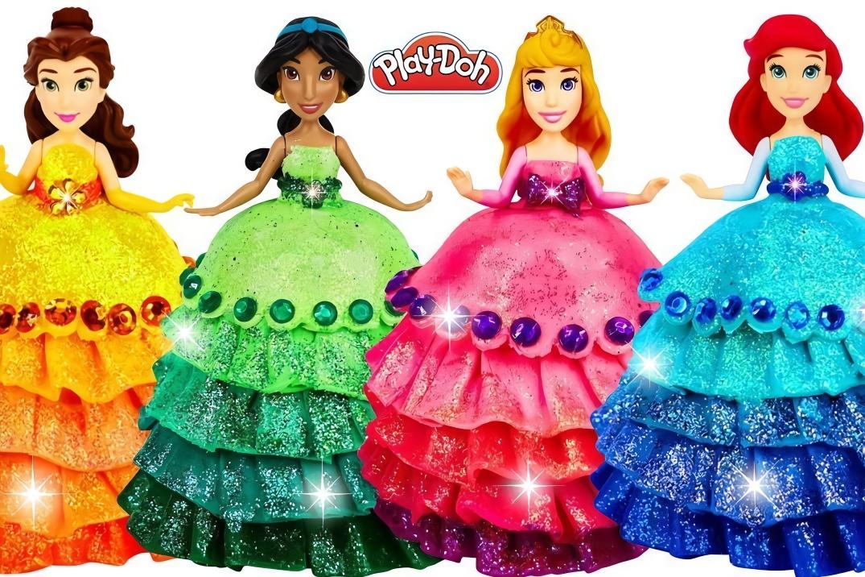 用彩泥给迪士尼公主做漂亮是裙子,做法简单,创意手工diy