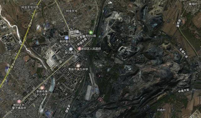 新邱区城镇矿区卫星图展示