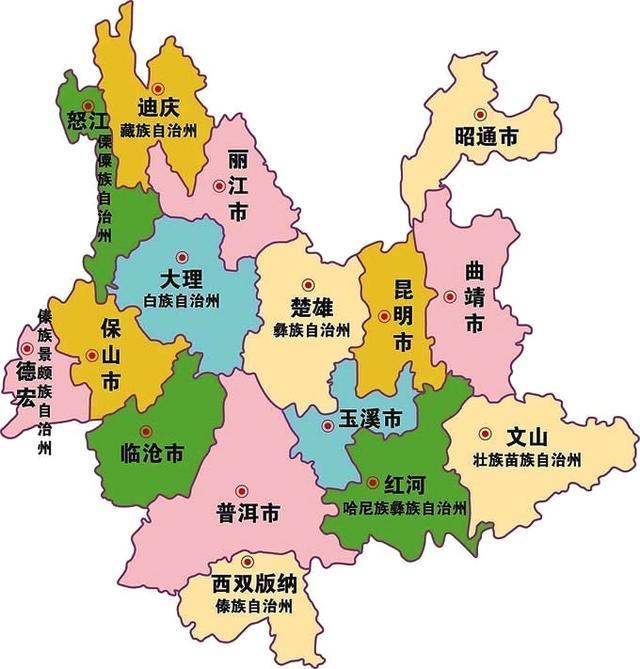 云南省各地人口数量
