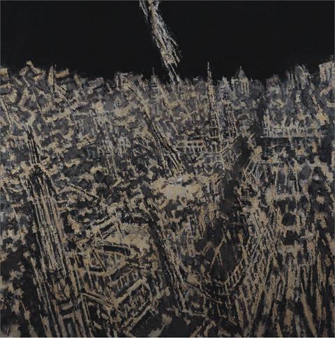 许江油画作品 历史的风景·大北京故宫冬雪之一 布面油画 23cm×30cm