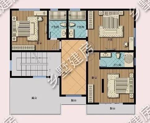 二层平面布局图:二楼是生活区,四间套房全部自带内卫.
