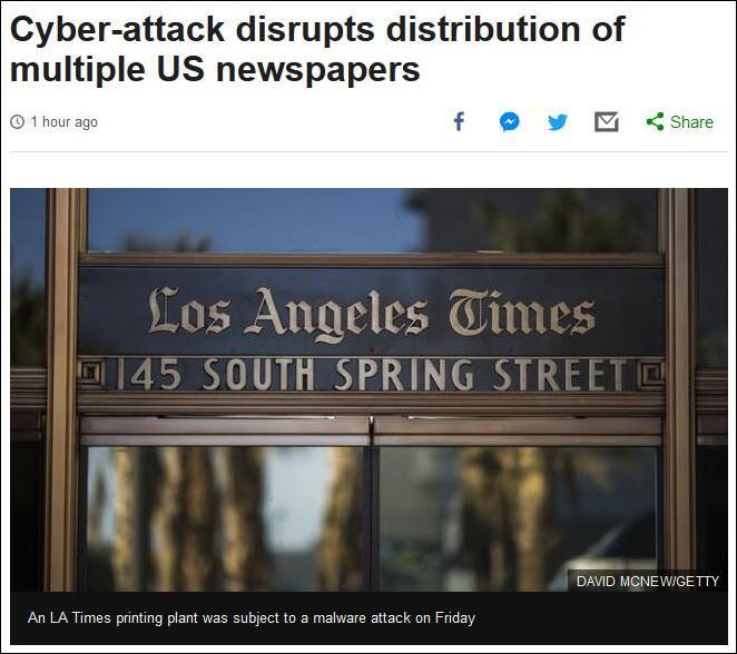 """美国多家报纸遭""""海外""""网络攻击 发行延迟"""