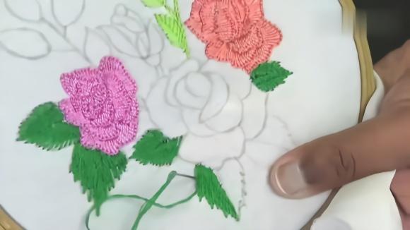 手工花朵刺绣,平面针法的学习,简单的教程