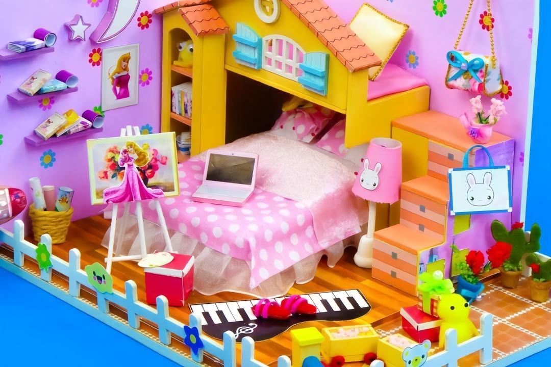 給長發公主做一個少女心爆棚的迷你臥室,做法簡單,手工diy