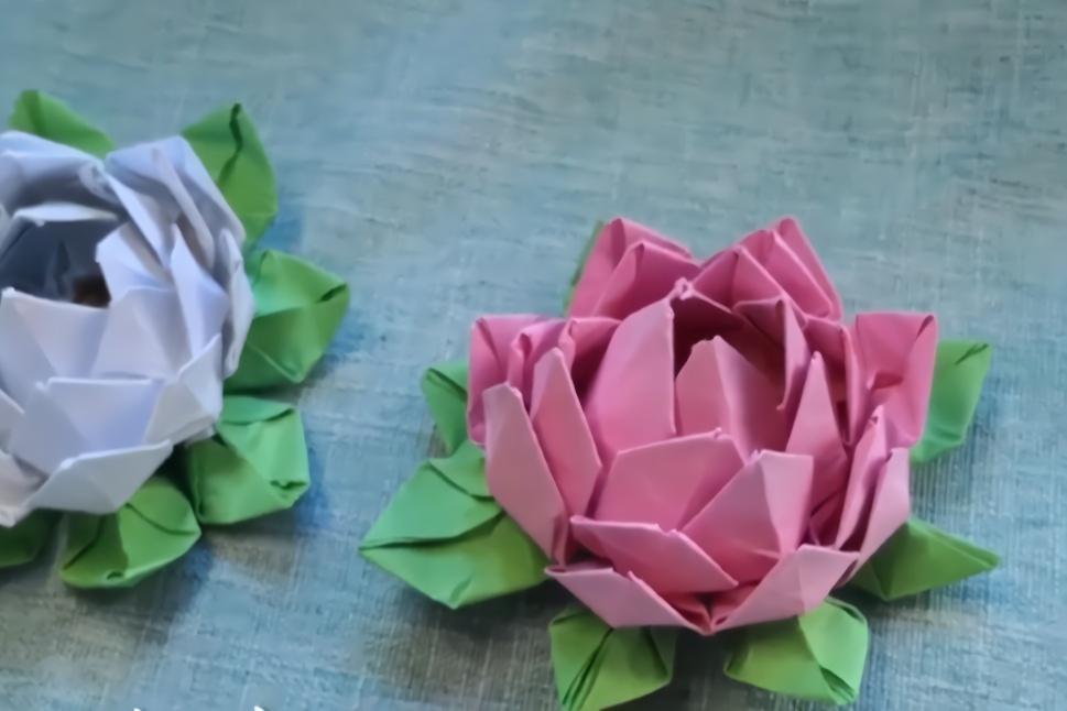 折纸教学,亲子diy手工制作,纸莲花高清折纸视频教程