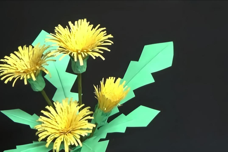 手工剪纸小妙招,蒲公英花朵的制作方法,简单又有创意!