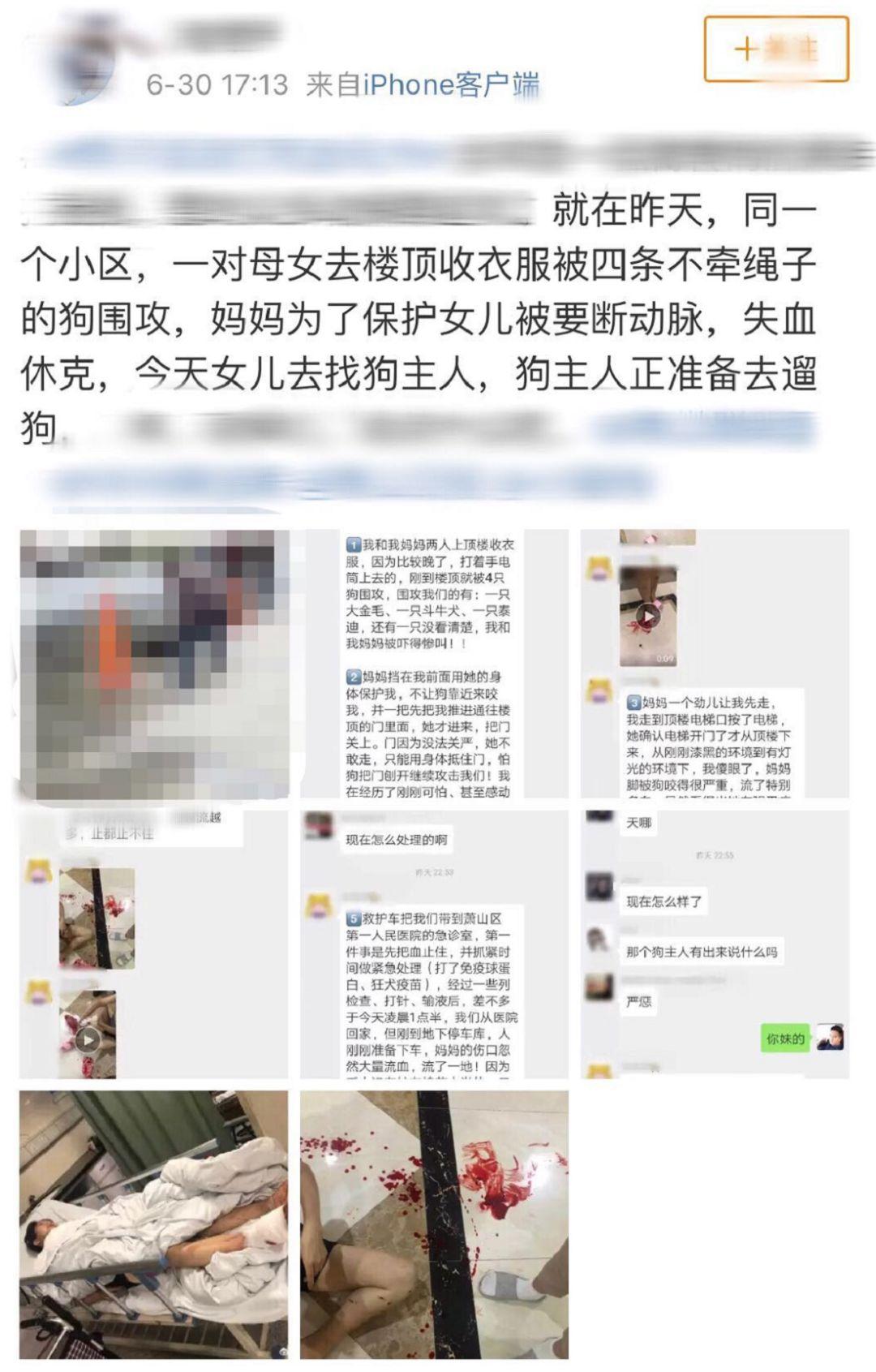 杭州母女遭4狗围攻:母亲被咬失血休克 狗主不阻止