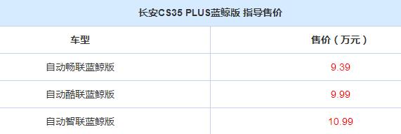 1.4T配7DCT组合!蓝鲸1.4T版长安CS35 PLUS售价9.39万起