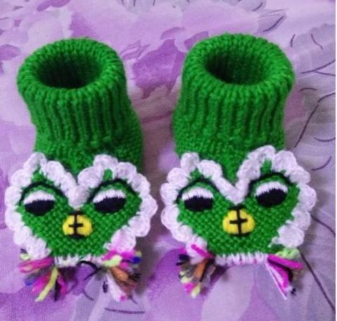 手工毛线编织宝宝虎头毛线鞋,美美哒
