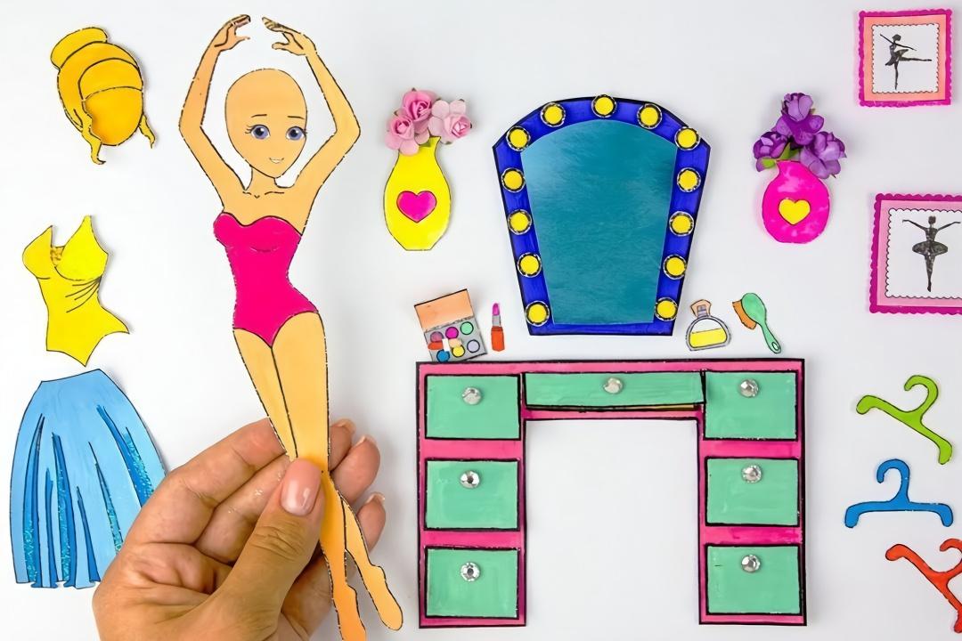 给纸娃娃做多款漂亮的芭蕾舞裙子,超级好玩的益智贴,手工diy