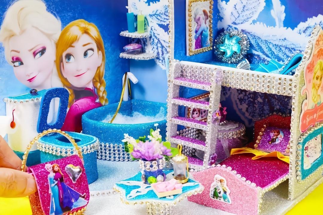 给艾莎公主做迷你浴室,物件齐全做法简单,创意手工diy