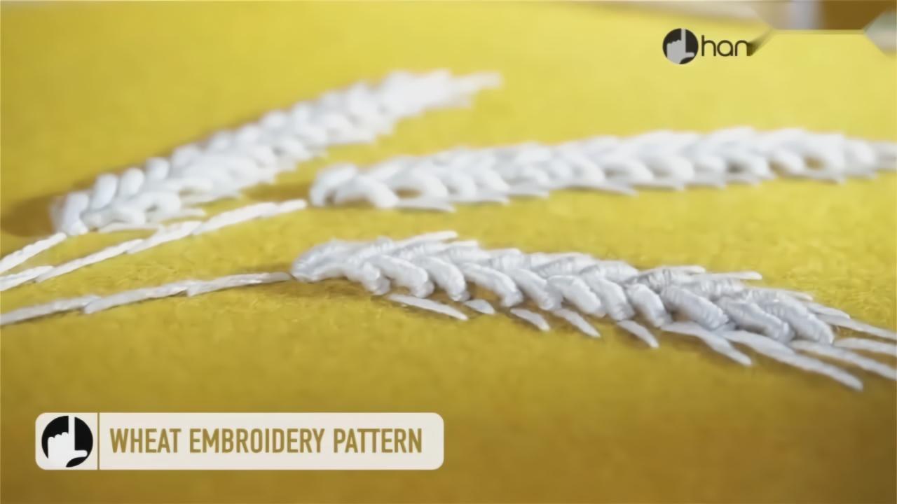 刺绣教程,白线麦穗针法简单,效果很赞!